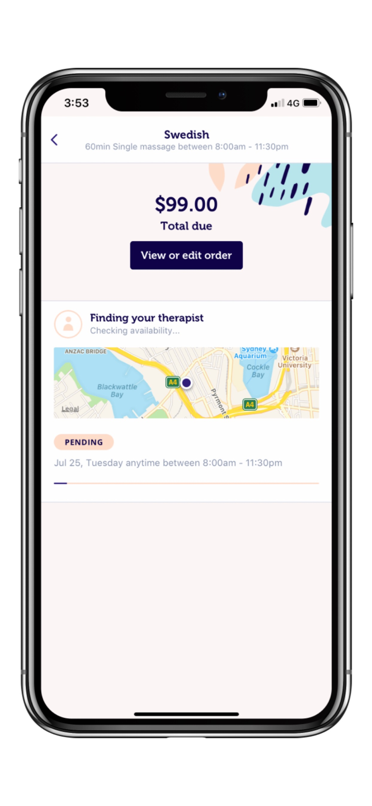 Blys App features - manage your booking