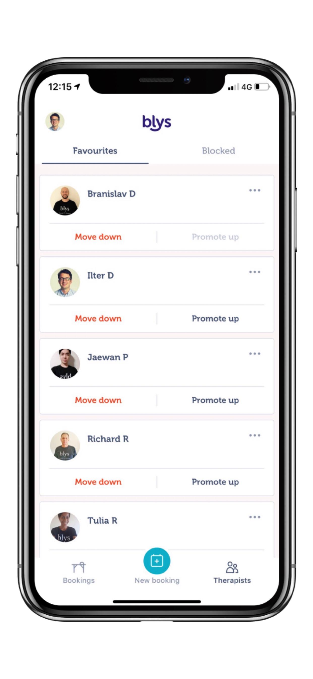 Blys App features - Favourites